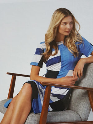 Marble Scotland: blue, navy and white dress