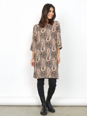 soya concept: taupe paisley print dress