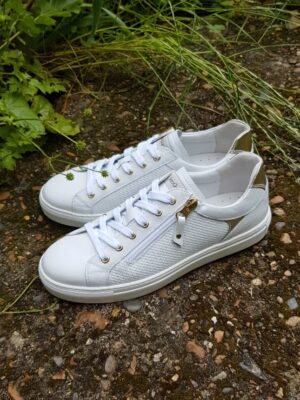 NeroGiardini: white and gold leather trainer