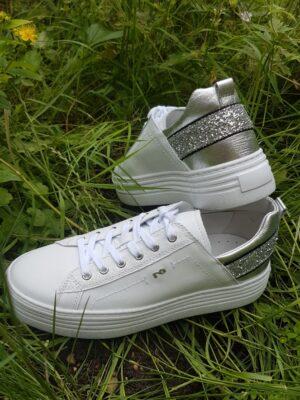 NeroGiardini: White leather with silver glitter back strap