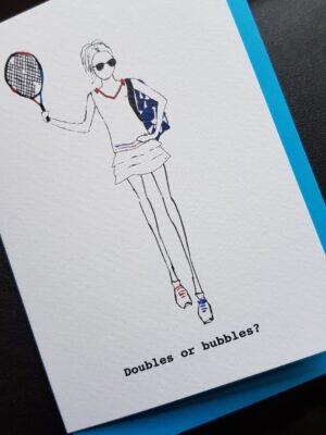 Proud London: tennis greetings card, doubles or bubbles