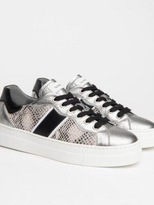 Nerogiardini: white and silver thick sole trainer