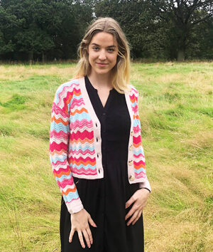 &Isla: multi coloured cashmere and wool cardi