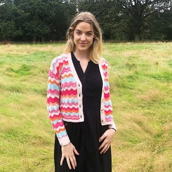 &Isla: multi coloured cashmere and wool cardi homepage Homepage cardi