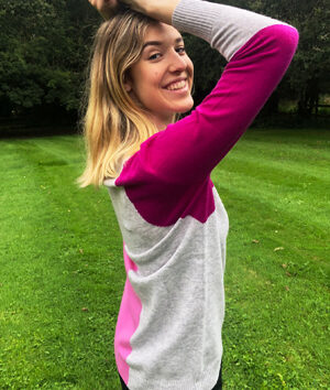 & Isla: pink and grey V neck cashmere sweater