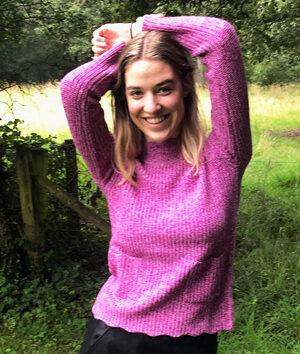 &Isla: pink melange cashmere and wool scallop trim sweater