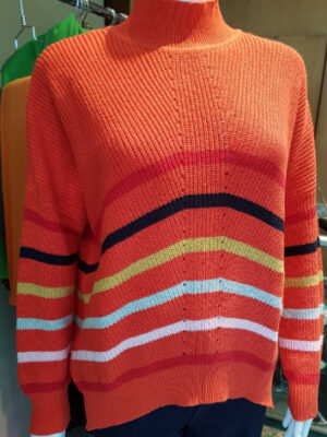 foil clothing: orangery red cotton stripe sweater