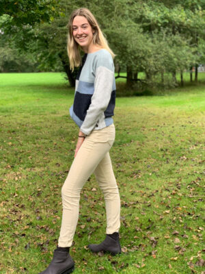 Foil clothing: blue, grey marl and navy boxy sweater