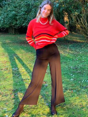 Marble fashion: Black crepe wide leg trouser
