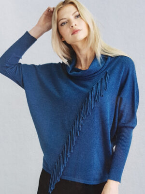 Marble scotland: blue cotton fringe sweater